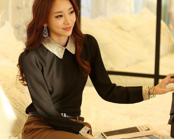 Новинка весны, модная женская элегантная тонкая Базовая рубашка с длинным рукавом, шифоновая рубашка, блузка, женские милые топы, camisas blusa - Цвет: Black