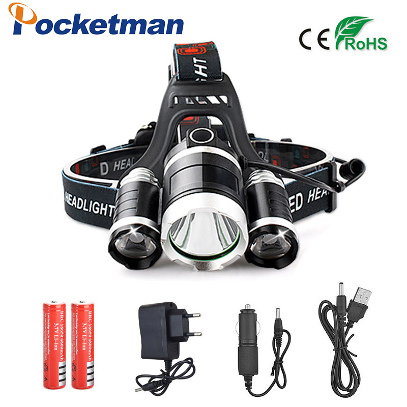 9000LM 3 XML T6 LED Headlamp Rechargeable Cycling Headlight 4Mode 18650 Battery Head Lamp Light Torch Camping Fishing Flashlight ultra bright tactical flashlight usb rechargeable 26650 16340 battery xml t6 led torch for camping security emergency use