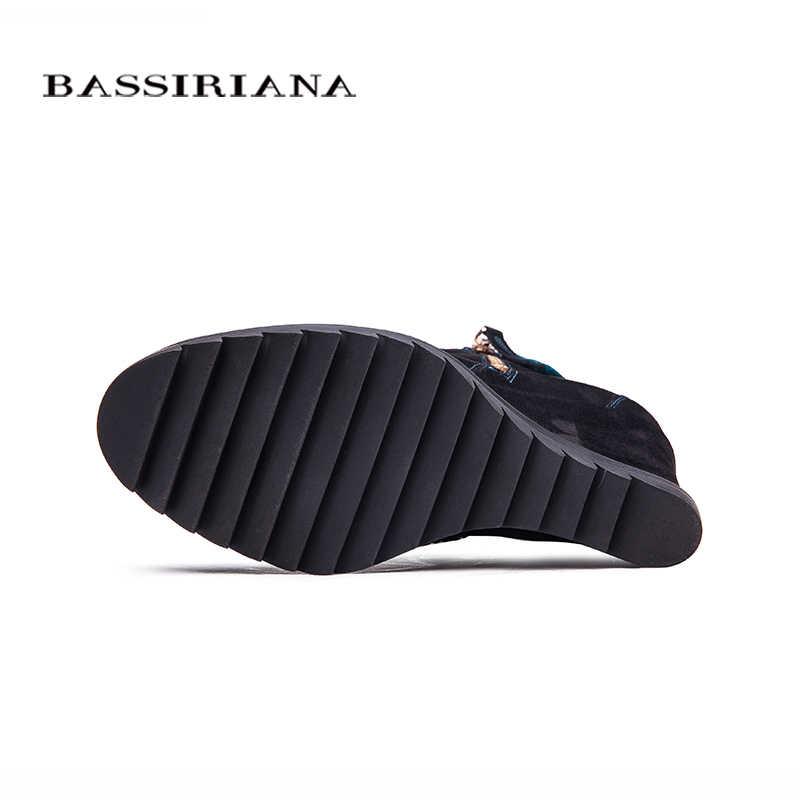 BASSIRIANA-hakiki süet deri Takozlar topuklu Kış yarım çizmeler kadın Kayma-op platformu kış ayakkabı 35-40 Ücretsiz kargo