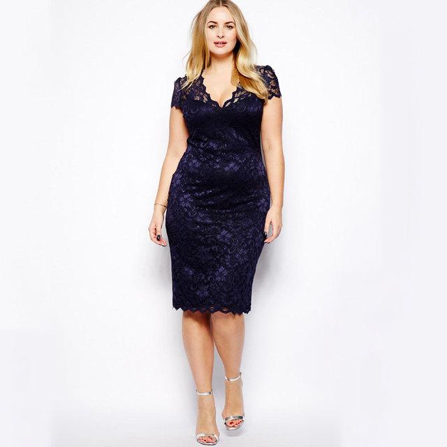 Lace Midi V Neck Dress