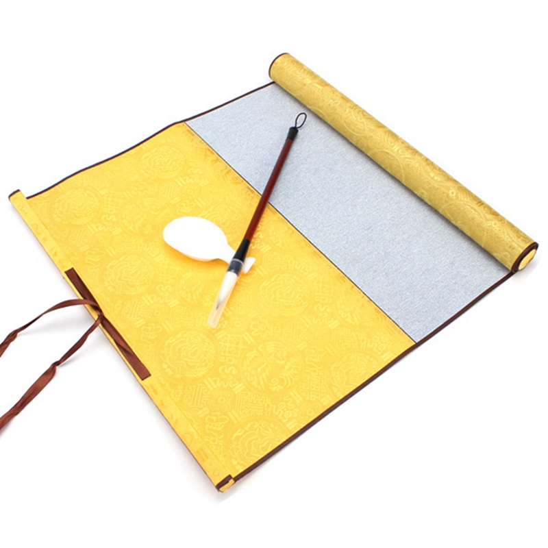 Top Quality Blank Magic Non-ink Calligraphy Paint Scroll Writing Yellow silk satin cloth Paper Set Calligraphy Practice Gift