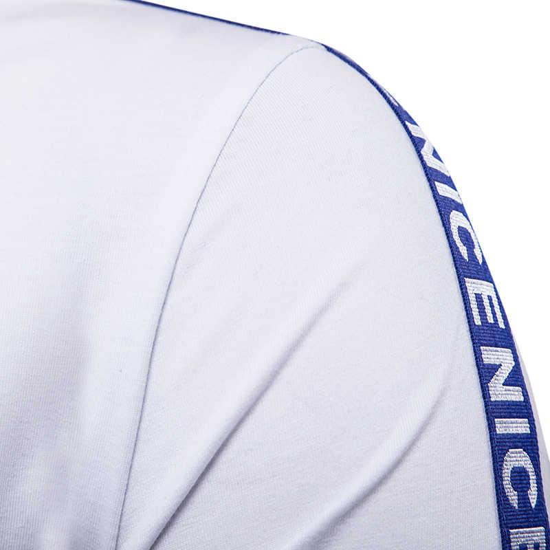 Letras impresas cinta camiseta hombres negro y blanco Hip Hop hombres camiseta 2017 otoño marca calle camiseta Casual camiseta Slim Fit
