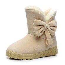 Women Winter Shoes  Warmer Plush Bowtie Fur Suede Women Boots Flat Women Shoes Slip On Winter Ankle Snow Boots Women's Fashion