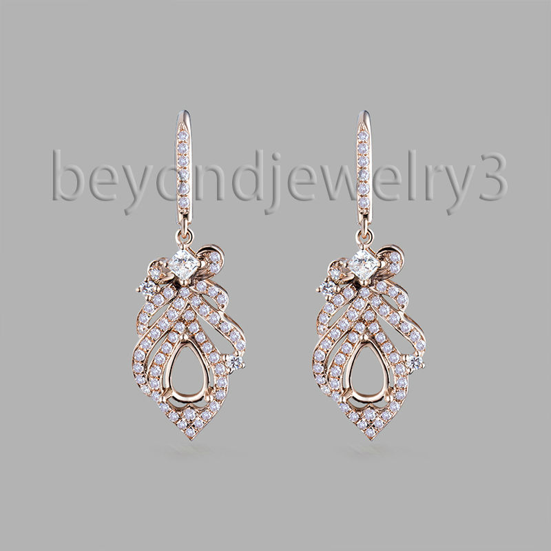 Pear 4X6mm 18k Rose 0.73ct Diamond Semi Mounts Solid 18k Rose Gold Drop Earrings For Sale WE014Pear 4X6mm 18k Rose 0.73ct Diamond Semi Mounts Solid 18k Rose Gold Drop Earrings For Sale WE014