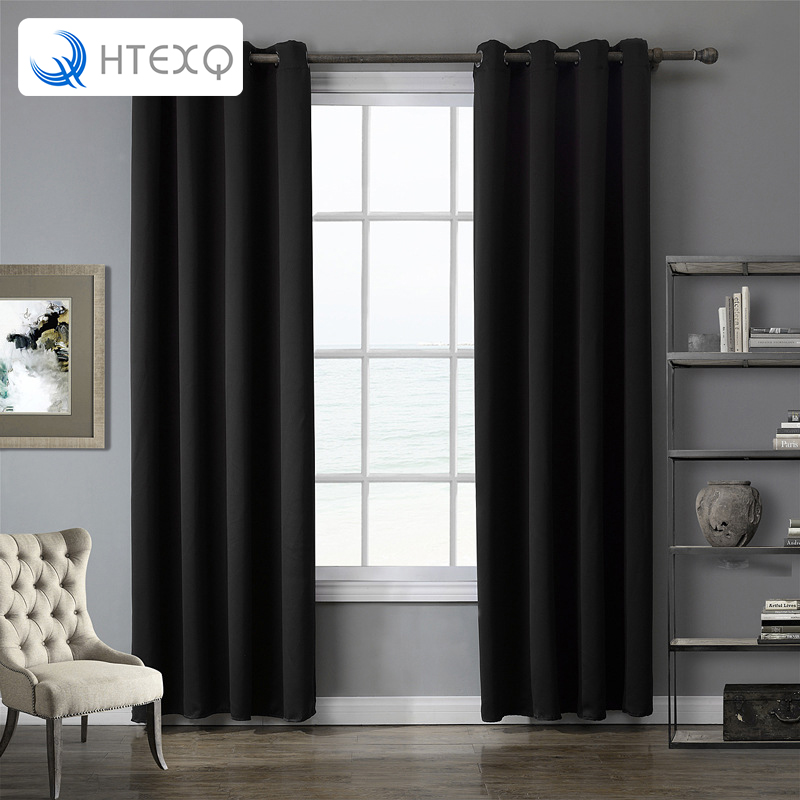 Luxury Modern Solid Gray, Black,Red, Purple Color Top Quality Bedroom And  Living Room Blackout Curtain Window