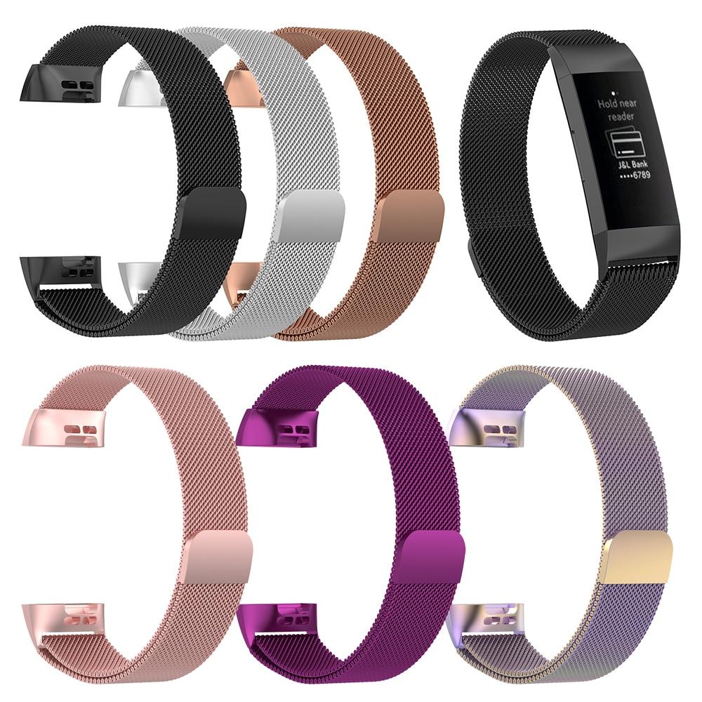 Armband Metall Edelstahl Milanese Magnetische Schleife Band Strap für FitBit Gebühr 3 Smart Uhr
