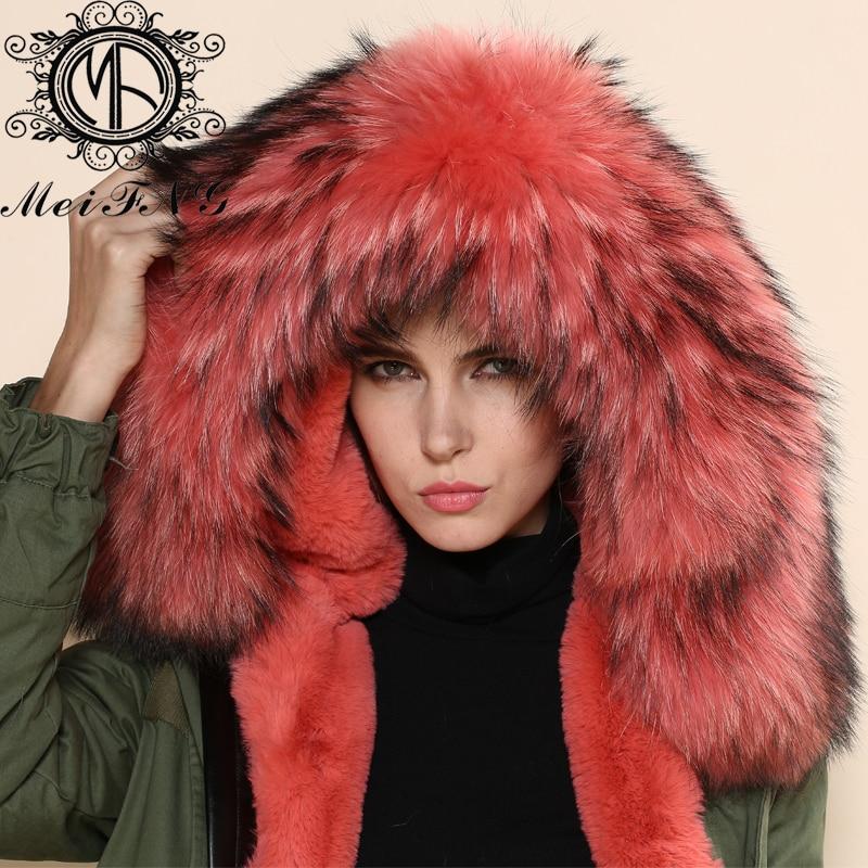 Raton Avec À De En Melon Femmes Vraie Mode Et Capuche Parka Gros Laveur Col Fourrure Manteau Pxw06Bx
