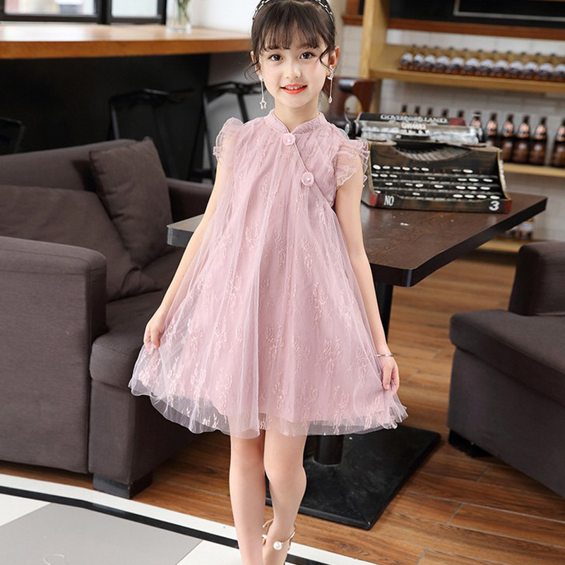 2018 autumn girls chinese traditional dress baby sleeveless cheongsam kids flower qipao children clothing evening dress