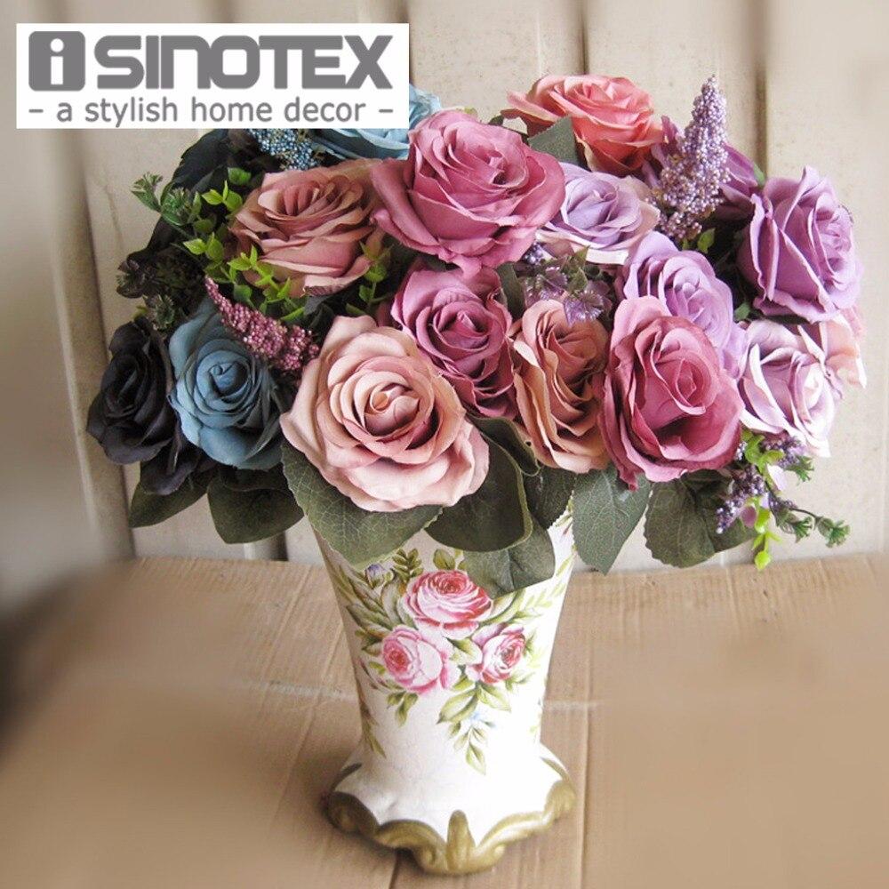 Artificial Flowers Rose Artificielle Bouquet Realistic Decorative