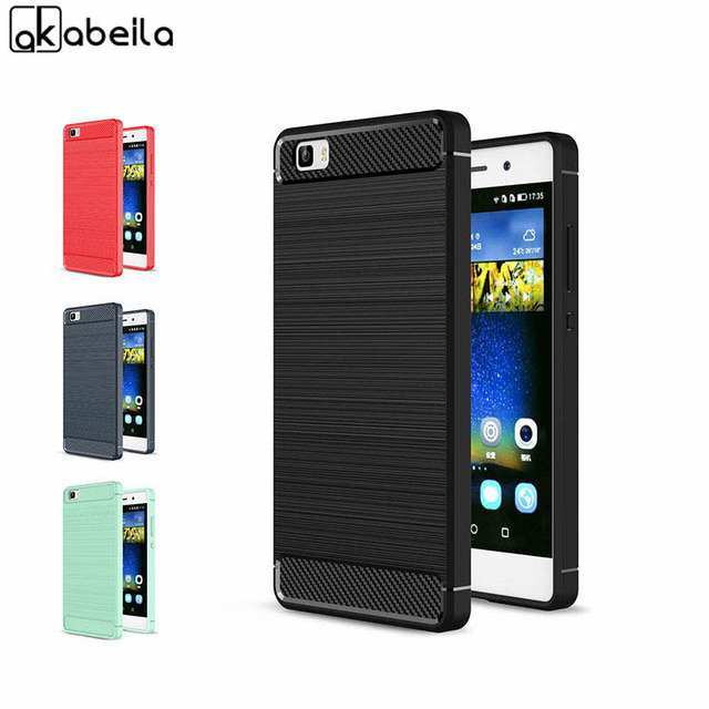 AKABEILA Phone Cover Case For Huawei ALE-L21 P8 Lite ale l21 Case P8 Mini P8lite ALE-L04 Cases Cover Carbon Fibre Brushed TPU