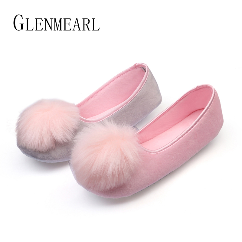 2018 Hot Sale Women Indoor Shoes Home Slippers Spring Autumn Warm Flannel Soft Sweet Slippers Comfortable Flats Pregnant Shoes45 hot sale spring autumn handmade flats