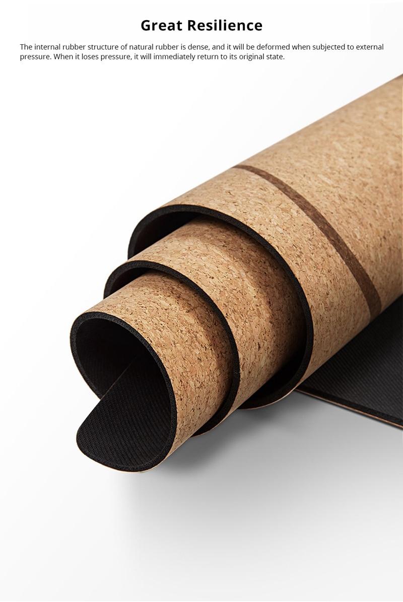 XIAOMI YUNMAI 4mm Natural Rubber Soft Cork Yoga Mat 9