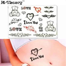 M-Theory I Love You Body Makeup Temporary 3d Tattoos Sticker Flash Tatoos Henna Tatto Body Art Sticker Bikini Makeup Tools