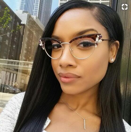 7f49a861541 retro glasses cat eye clear lens with rhinestones crystals Half Frame cat  eye glasses frame women fashion myopia spectacles