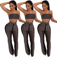 Black Rhinestone Crop Top Pants Women Two Piece Outfits Summer Set Women Clothes 2019 Ladies Birthday Nightclub Party Wear DT657