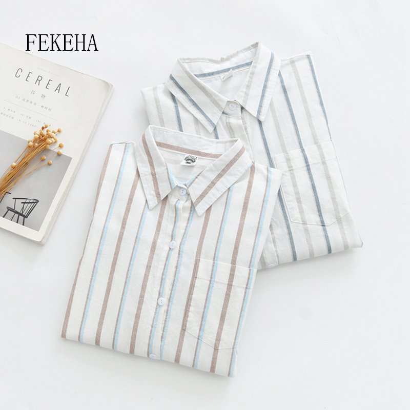 FEKEHA 100% Cotton Women Striped   Blouse     Shirt   Long Sleeve Female Loose Blusas Autumn Casual Ladies Office   Blouses   White Top