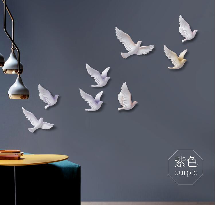 EEN set van 8 stks 3D Hars Vogel Woondecoratie Driedimensionale Muur Decor Muurstickers Creatieve Woonkamer Decoratie Ambachten