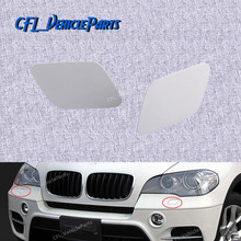 Pair Front Headlight Washer Nozzle Jet Left Right  Cover Cap Unpainted 51657199141 51657199142 For BMW X5 E70 2007 2009 2011