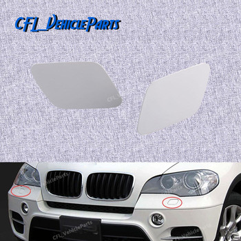 Pair Front Headlight Washer Nozzle Jet Left Right Cover Cap Unpainted 51657199141 51657199142 For BMW X5 E70 2007 2009 2011 image