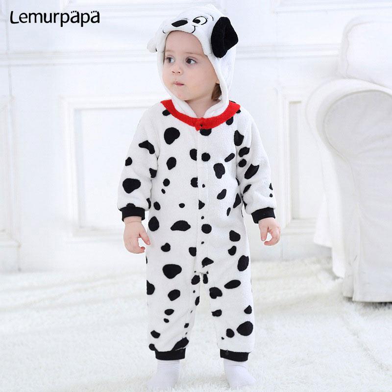 Baby Warm Romper Dalmatian Cartoon Onesie Kids Boy Girl Jumpsuit Animal Dog Costume Toddler Playsuit Newborn Clothes Kigurumi-in Rompers from Mother & Kids