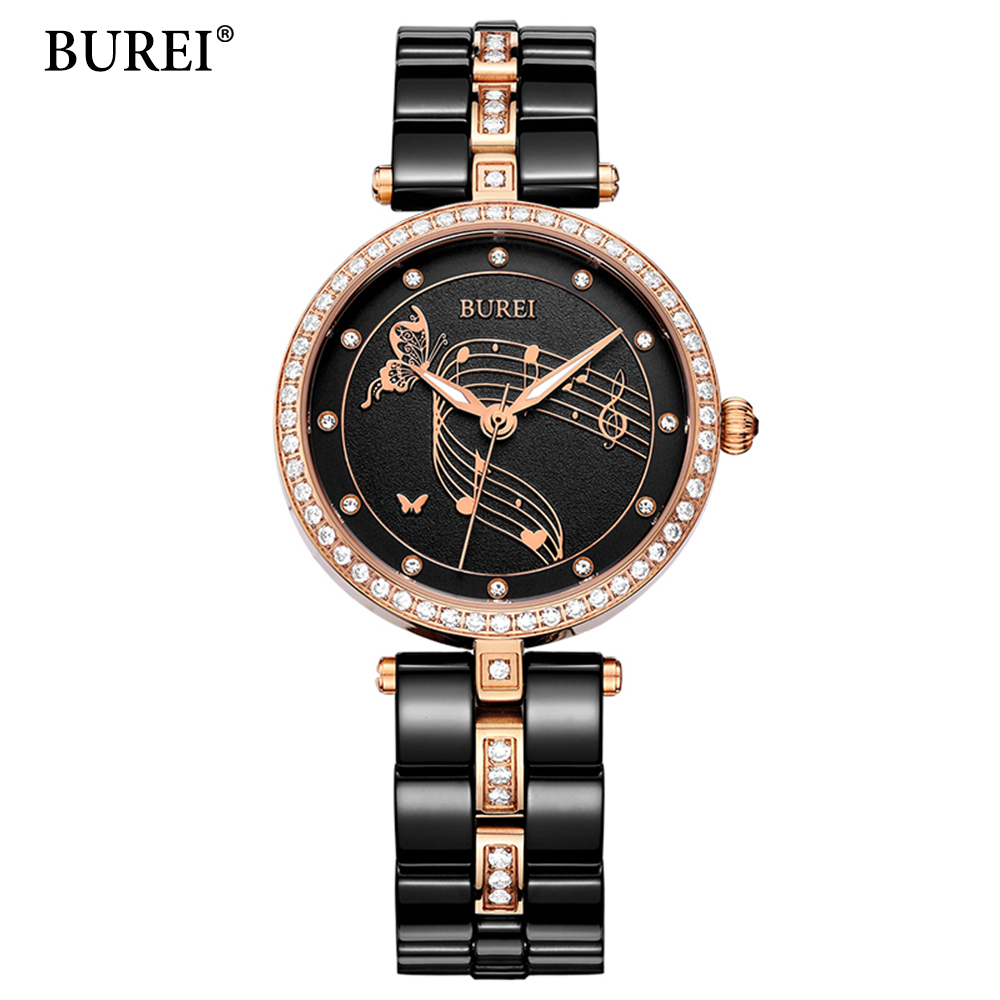 BUREI 2017 бренд керамика часы для женщин модные часы Роскошные Кварцевые часы наручные часы Женское платье часы Relogio Feminino