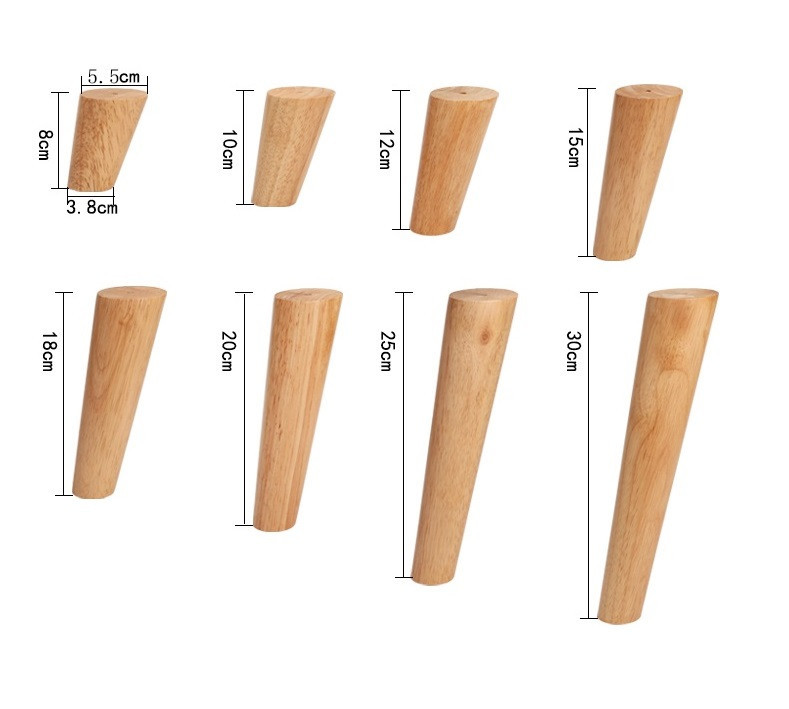 4/6PCS SET 10cm Furniture Legs Oak Solid Wood Sofa Tea Cabinet Foot Nordic Style Coffee Table Feet Furniture Parts
