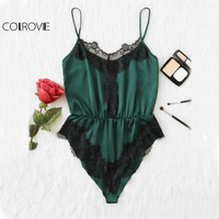 COLROVIE Green Satin Lace Bodysuit Women Contrast Applique Vintage Elegant Cami Bodysuits 2017 Fashion Ladies V
