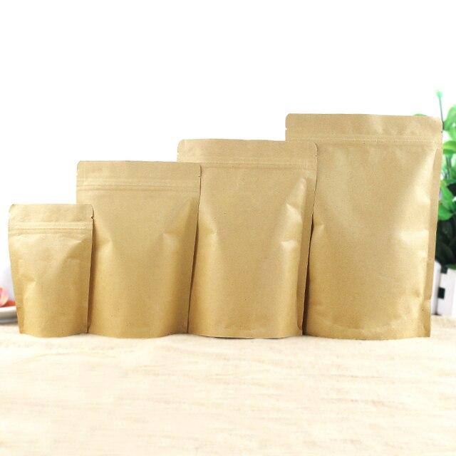 Leotrustting-sac en papier Kraft debout   Sac demballage en papier Kraft Mylar à fermeture éclair, sac à café en papier Kraft à haute barrière, sac cadeau