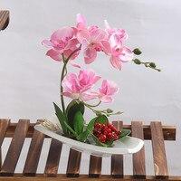 Porselen vazo yapay orkide saksı yüksek simülasyon yeşil bitki sahte çiçek ev otel ofis sahte çiçek dekorasyon