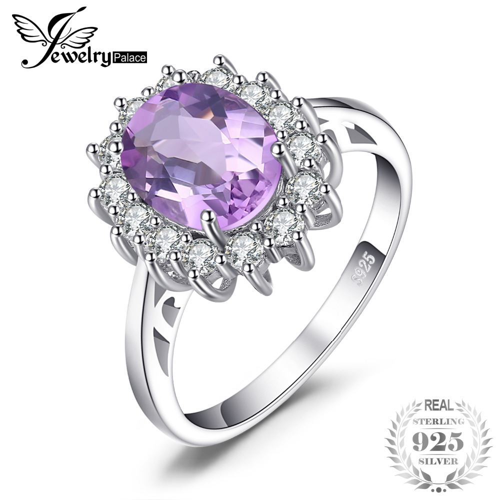 JewelryPalace Princess Diana William Kate Middleton's 1.8ct Natural Amethyst Engagement Halo Ring 925 Sterling Silver Jewelry jewelrypalace princess diana jewelry engagement wedding created emerald jewelry 925 sterling silver ring pendant earring