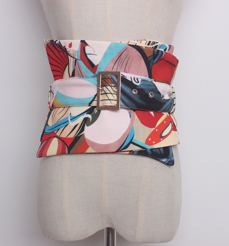 Women's Runway Fashion Fabric Print Cummerbunds Female Dress Coat Corsets Waistband Belts Decoration Wide Belt R1307