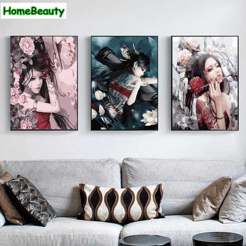 Home Beauty diy oil pictures by numbers classic beauty lady canvas painting acrylic coloring drawing by number Modular craft