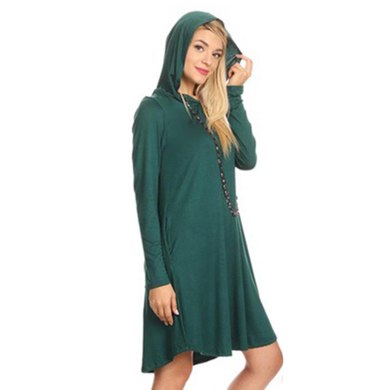 6e9051c1fab Autumn Dress Women Modest Hoodies Casual Vestido Long Sleeves Knee Length  Party Tunic Dresses WS4630Y