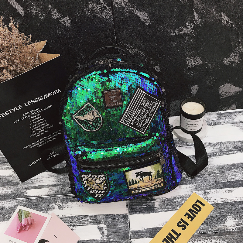 Sequin Backpack Korean version 2018 New Personality Badge Fashion Backpack Wild Casual 2