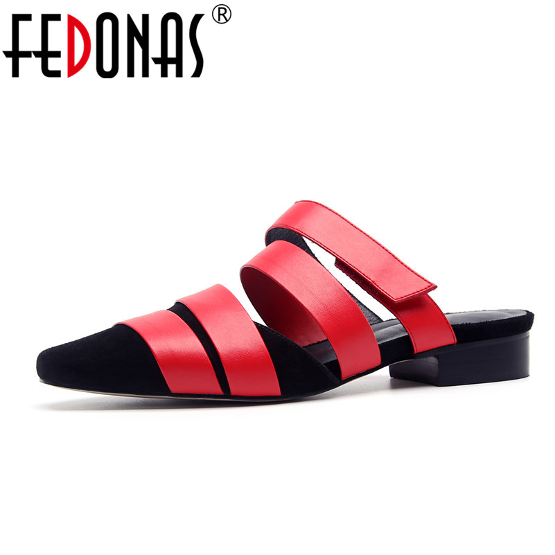 FEDONAS Summer Women Sandals Sexy Pointed Toe Fashion Loafer Shoes Low Heels Comfortable Genuine Leather Sandals Shoes Woman summer shoes woman handmade genuine leather soft sandals casual comfortable women shoes 2017 new fashion women sandals