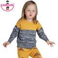 Campure 2016 Niños Niñas Ropa de Otoño Invierno de la Marca Suéteres Amarillo Gary 1-5Yrs Bebé Niños Niñas Suéter de Punto Ropa de Niños