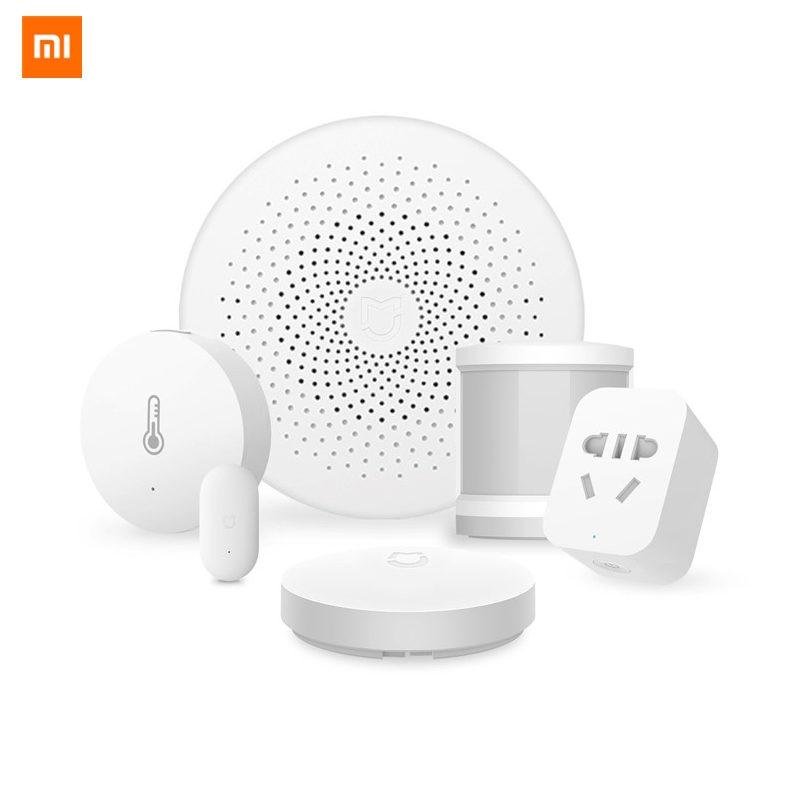 Xiaomi Smart Home Sensor Kit Mijia Gateway2 Door Window Sensor Human Body Sensor Wireless Switch Humidity Zigbee Socket MI APP