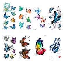 Rocooart  Waist Shoulder Water Transfer Tattoo Decal Waterproof Temporary Sticker Colorful Butterfly Fake 10.6*6CM