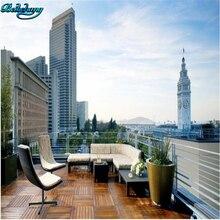 Beibehang ciudad terraza paisaje 3D Fondo mural Sala dormitorio sofá decoración personalizada