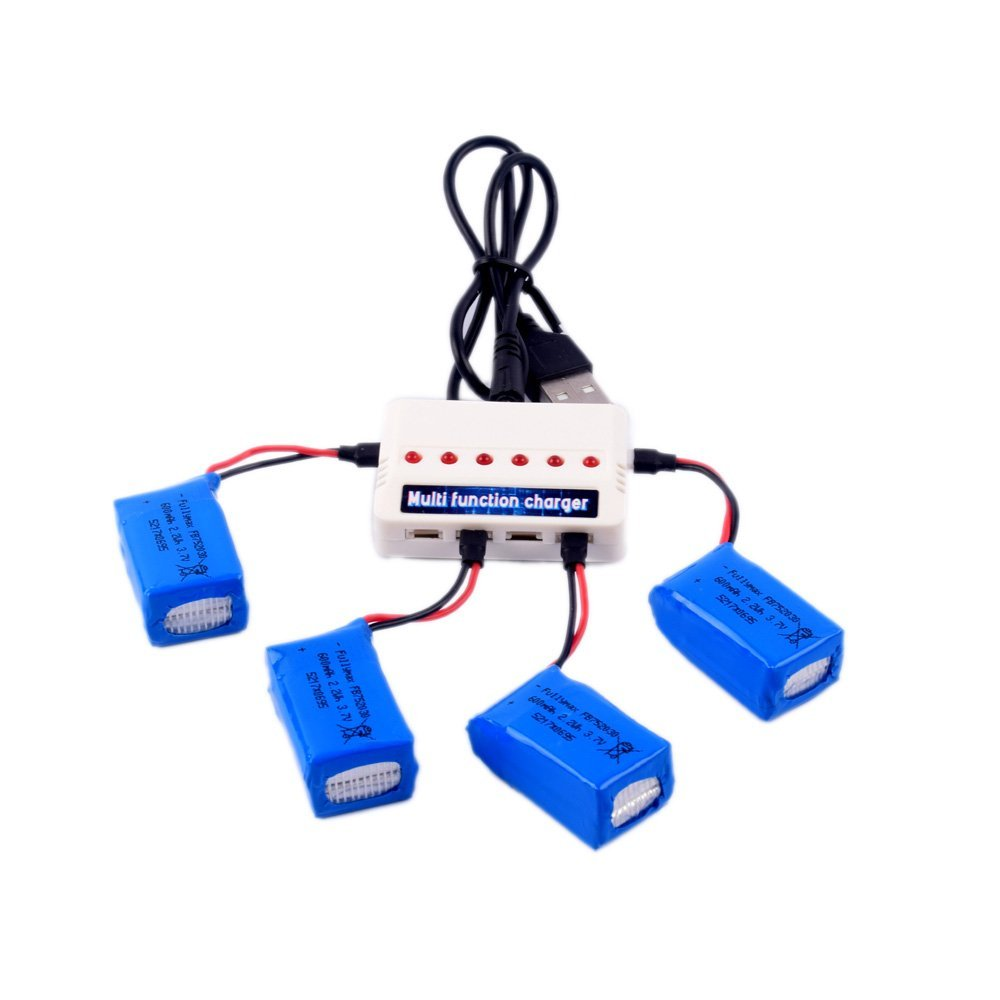 4pcs <font><b>3.7V</b></font> <font><b>600mAh</b></font> <font><b>Lipo</b></font> <font><b>Battery</b></font> and 1 To 6 Charger for Syma X9 X9s Flying Car RC Quadcopter Drone Spare Parts image