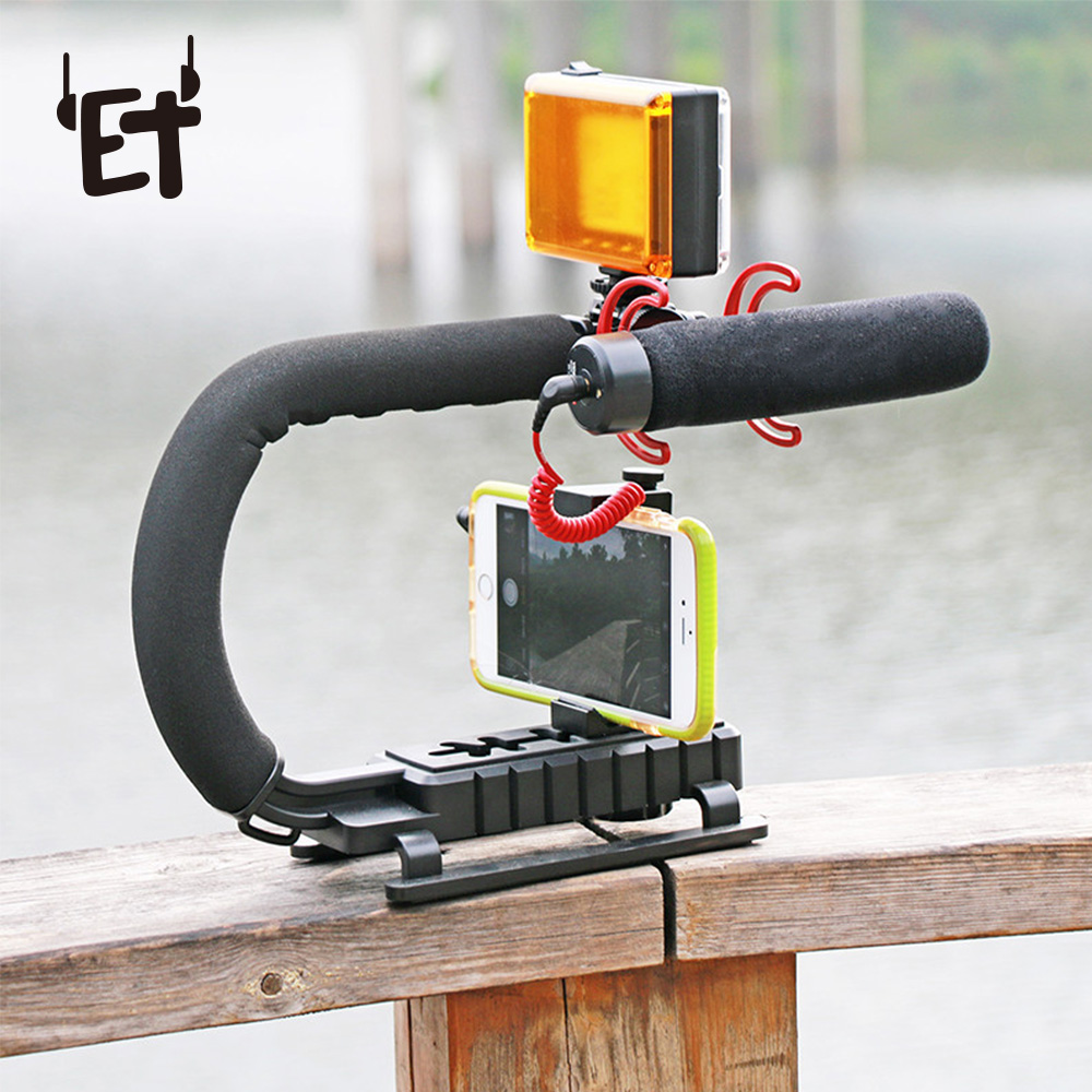ET U-Grip Triple Shoe Mount Video Action Stabilizing Handle Grip Rig for IPhone 8 X Gopro Smartphone Canon Sony DSLR Camera 3d hot shoe triple axis bubble gradienter for sony canon more green