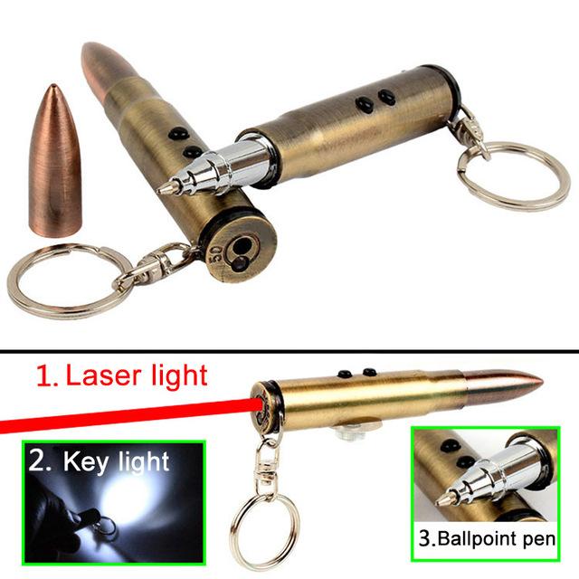 4 in 1 Multifunction Outdoor Self-defense Flashlight Bullet Shaped Pen Survival Laser+Light+Hammer+Ballpoint Self Defense