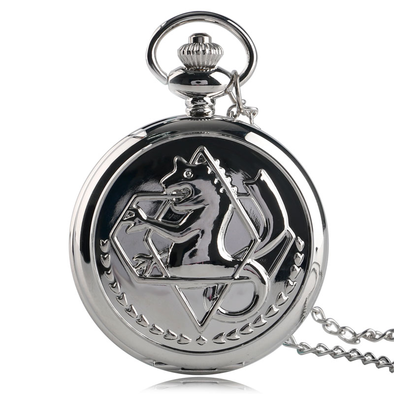 цена на Cool Smooth Silver Fullmetal Alchemist Case Design Roman Number Dial Quartz Fob Pocket Watches with Necklace Chain for Children