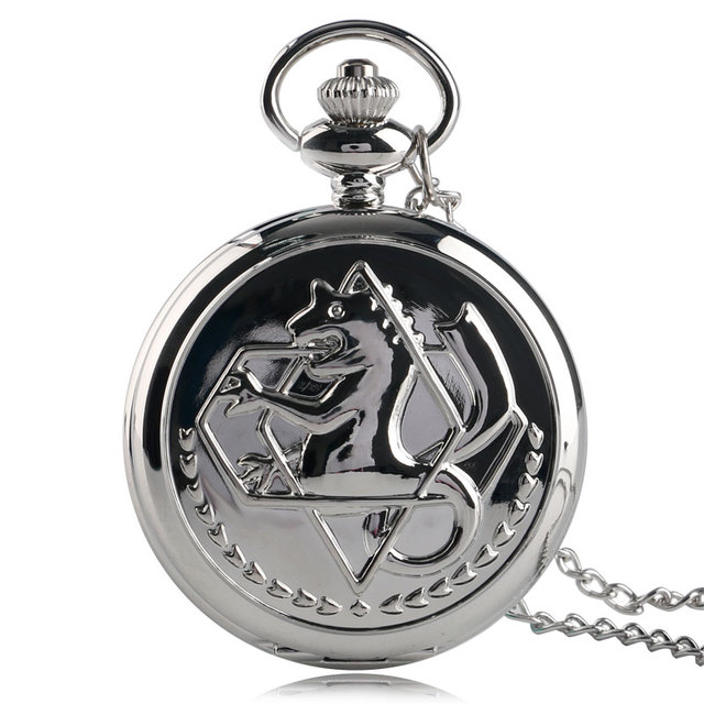 Cool Smooth Silver Fullmetal Alchemist Case Design Roman Number Dial Quartz Fob