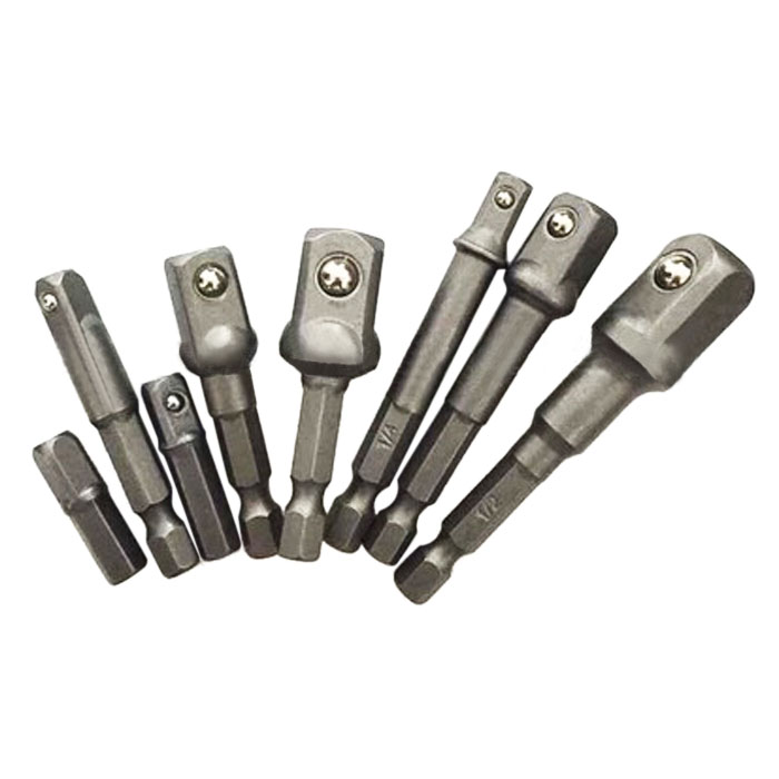 8pcs Socket Bit Adapter Drill chuck Nut Driver Extension Power Bar Bits 1/4,3/8,1/2 Hex Drill Driver Socket Bar Wrench Adaptor socket extension bar driver bit adapter
