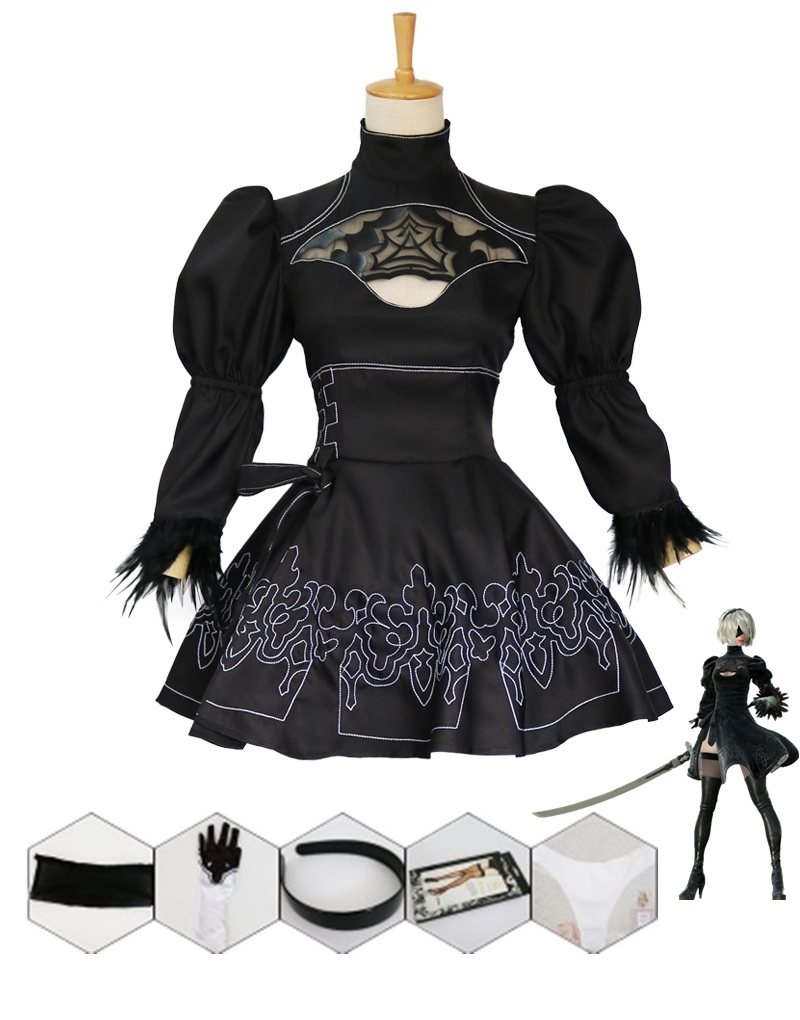 New Game Nier Automata Cosplay Costume YoRHa <font><b>2B</b></font> <font><b>Sexy</b></font> Outfit Fancy Dress Halloween Costumes for Women S-XXL image