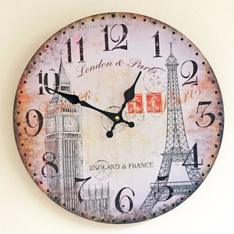big ben and eiffel tower european style large decorative wall watch 3535cm home decor