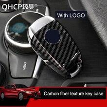 QHCP ABS Carbon Fiber Style 3D Logo Car Smart Remote Key Fob Cover Case Bag Shell Holder Replace For Alfa Romeo Giulia Stelvio