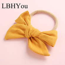 1pcs Soild Fabric Linen Bows Nylon Headbands,School Girls Elastic Stretchy Hairbands,Kids Children Knotbow Hair Accessory