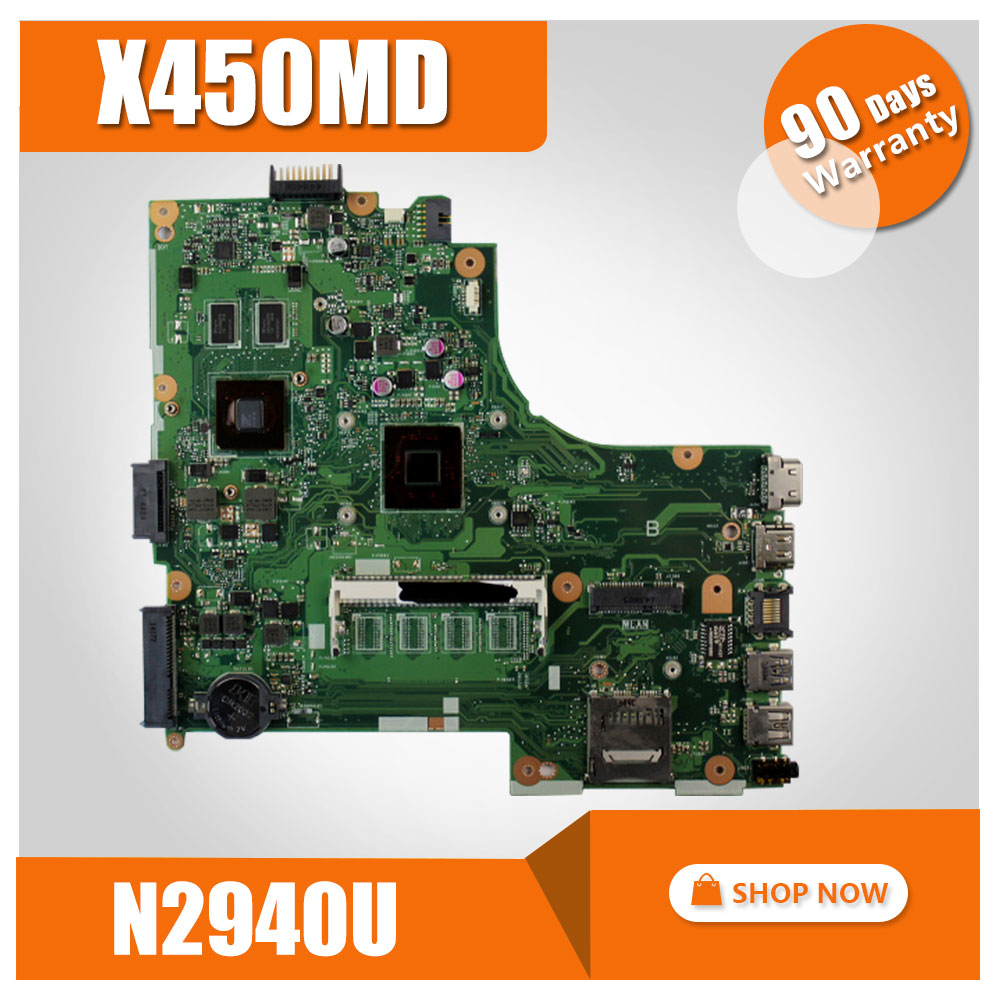 Laptop Motherboard For Asus X450MD X450M X452M With N2940 CPU MOTHERBOARD Mainboard REV2.0 100% Tested for asus taichi21 with i5 3337u cpu laptop motherboard 90r ntfmb1500y 60 ntfmb1501 mainboard 100